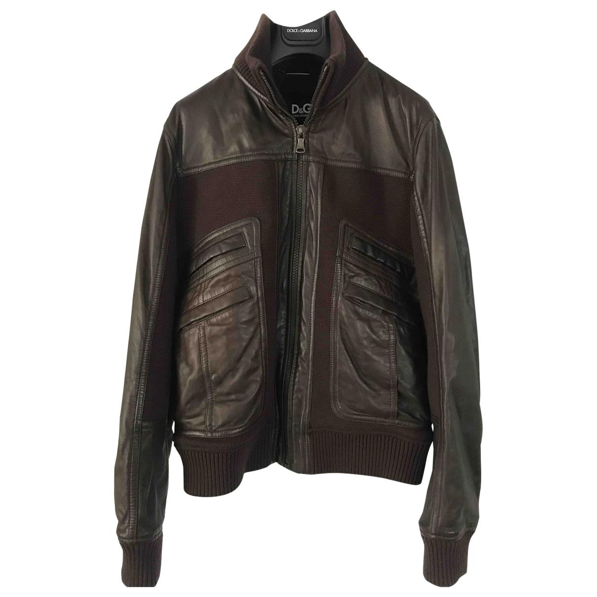 D&g \N Brown Leather jacket  for Men 50 IT