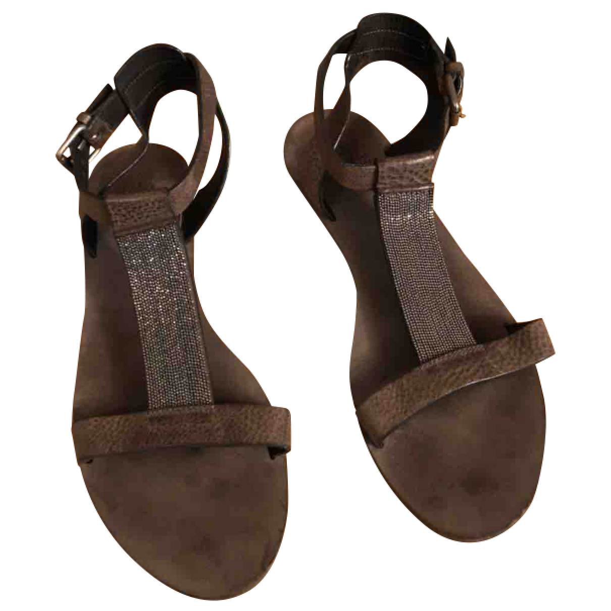 Brunello Cucinelli N Brown Leather Sandals for Women 37 EU