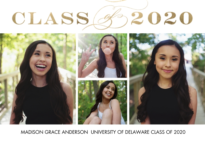 2020 Graduation Announcements 5x7 Cards, Standard Cardstock 85lb, Card & Stationery -2020 Class of Simple by Tumbalina