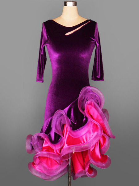 Milanoo Dance Costumes Latin Dancer Dresses Velour Round Neck Half Sleeve Low Back Strappy Layered Ruffles Bodycon Dancing Clothes Hallloween