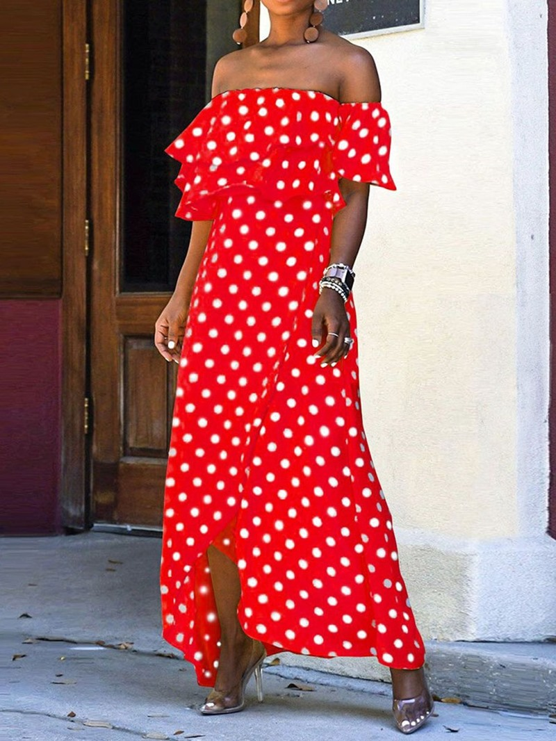 Ericdress Off Shoulder Polka Dots Falbala Ankle-Length Asymmetrical Dress