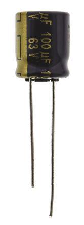 Panasonic 100μF Electrolytic Capacitor 63V dc, Through Hole - EEUFC1J101 (5)