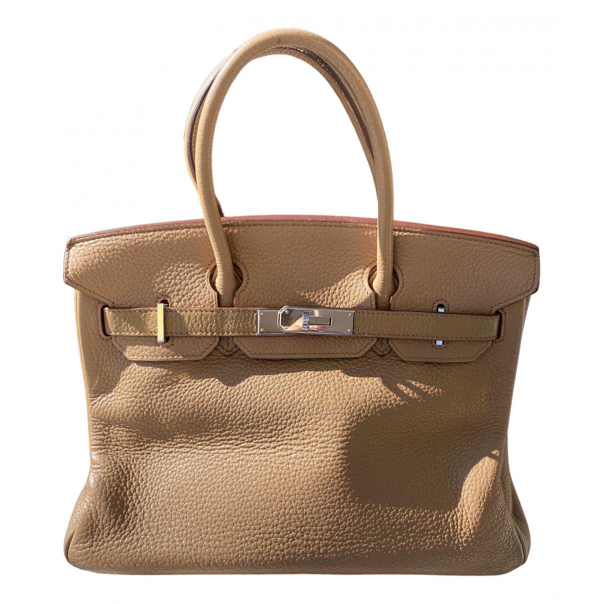 Hermes - Sac a main Birkin 30 pour femme en cuir - beige