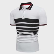 Camisa polo de color combinado ribete en contraste