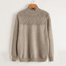 Einfarbiger Pullover mit Rueschen am Kragen
