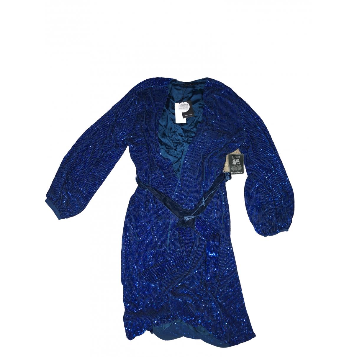 Retrofete - Robe   pour femme en a paillettes - bleu