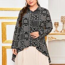 Bluse mit Schal Muster und Stufensaum