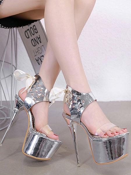 Milanoo Sandalias atractivas de oro Plataforma para mujeres Punta abierta Con cordones y sandalias de tacon alto