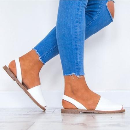 Yoins White Gladiator Style Peep Toe Flat Sandals