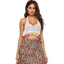 Crochet Pom-pom Trim Halter Bikini Top