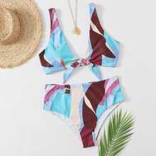 Bikini Badeanzug mit Grafik Muster und Knoten vorn