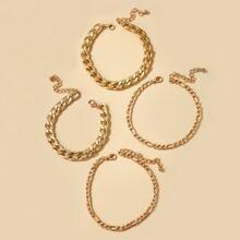 4pcs Simple Chain Bracelet