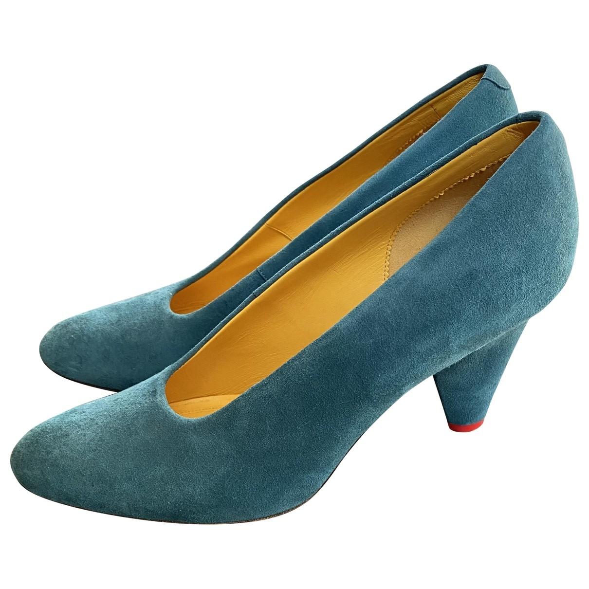 Celine - Escarpins   pour femme en suede - turquoise