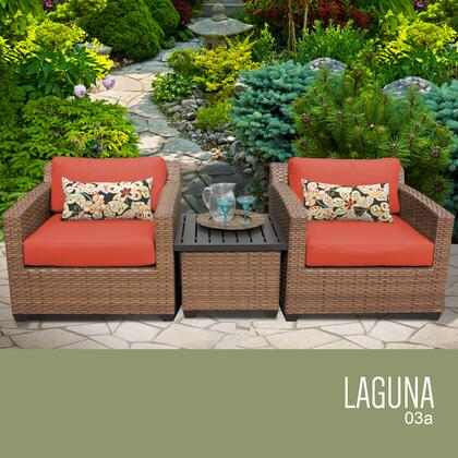 LAGUNA-03a-TANGERINE Laguna 3 Piece Outdoor Wicker Patio Furniture Set 03a with 2 Covers: Wheat and