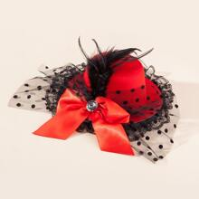 Toddler Girls Polka Dot Mesh Hat Decor Hair Clip