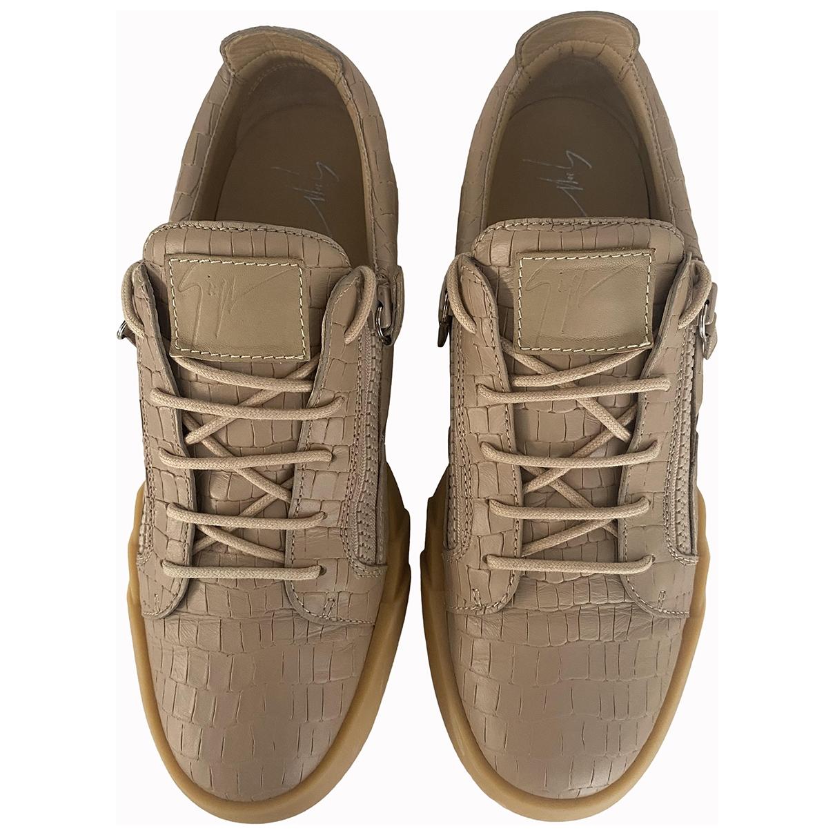 Giuseppe Zanotti - Baskets   pour homme en cuir - beige
