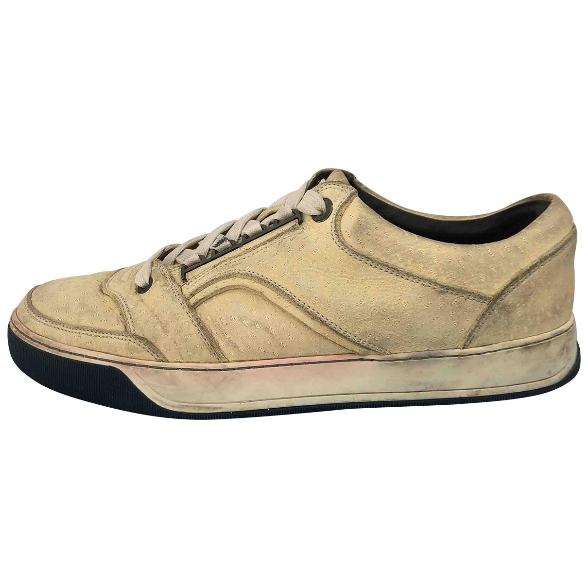 Lanvin \N Sneakers in  Ecru Leder