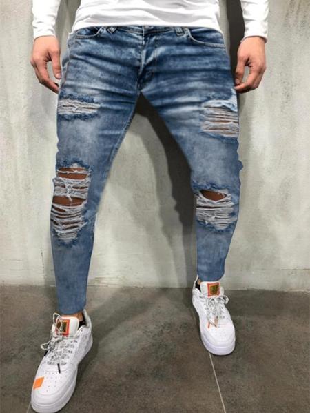 Yoins Men Blue Ripped Knee Hole Streetwear Style Jeans