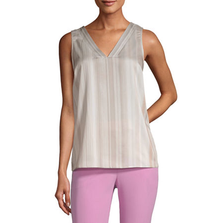 Worthington Womens V Neck Shell Blouse - Tall, Xx-large Tall , White