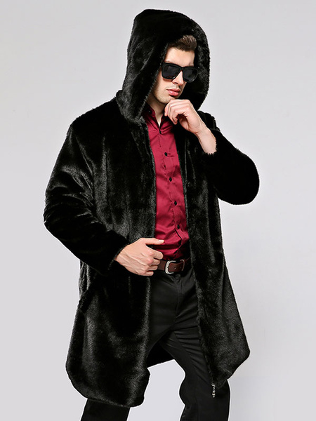 Milanoo Men\\'s Hooded Faux Fur Jackets Winter Coats In Black