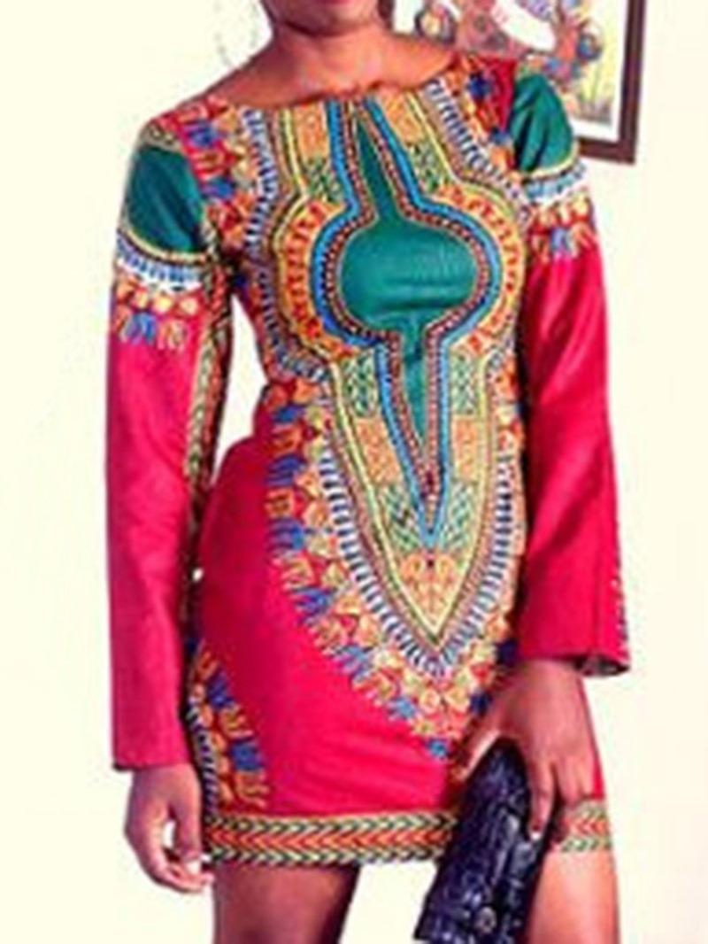 Ericdress Long Sleeve Print Round Neck Pullover Regular Dress