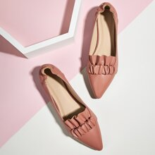Point Toe Ruched Decor Ballet Flats