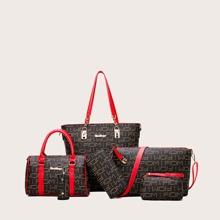 6pcs Letter Graphic Tote Bag Set