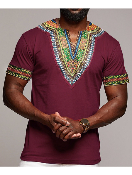 Yoins Men Tribal Print Dashiki Style V-neck T-Shirt