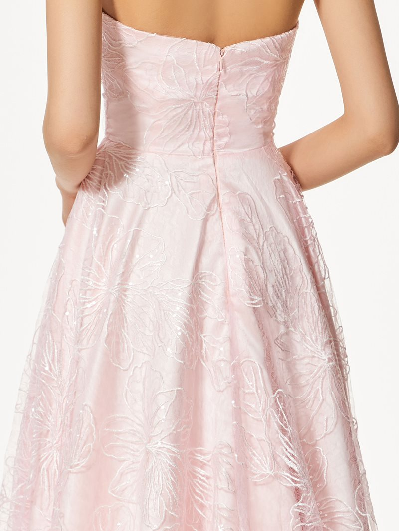 Ericdress Strapless A-Line Lace High Low Prom Dress