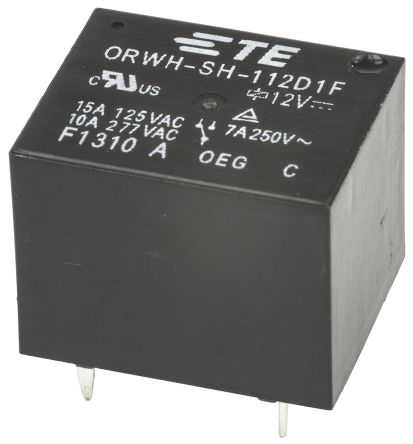 TE Connectivity , 12V dc Coil Non-Latching Relay SPDT, 10A Switching Current PCB Mount Single Pole