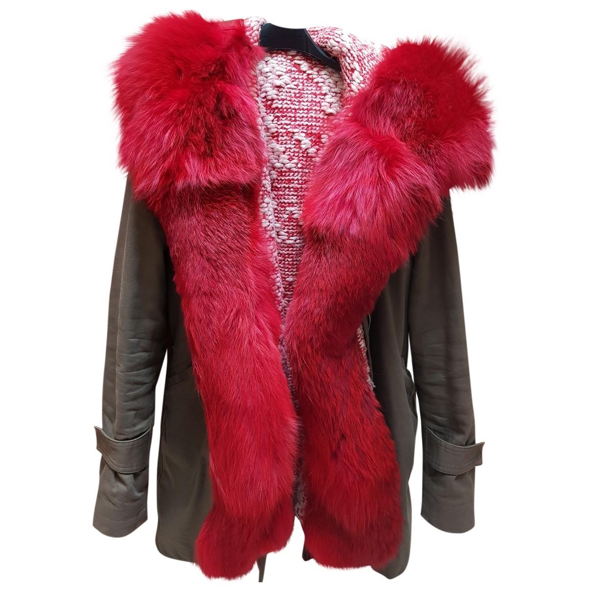 Forte Couture - Manteau   pour femme en renard - kaki