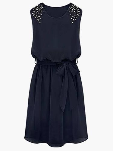 Milanoo Vestido plisado de chifon con escote ovalado y tachuelas sin mangas