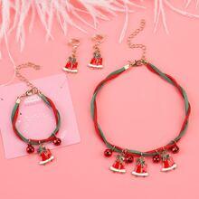 Kleinkind Maedchen Halskette & Armband & Ohrringe mit Weihnachten Hirsch Dekor