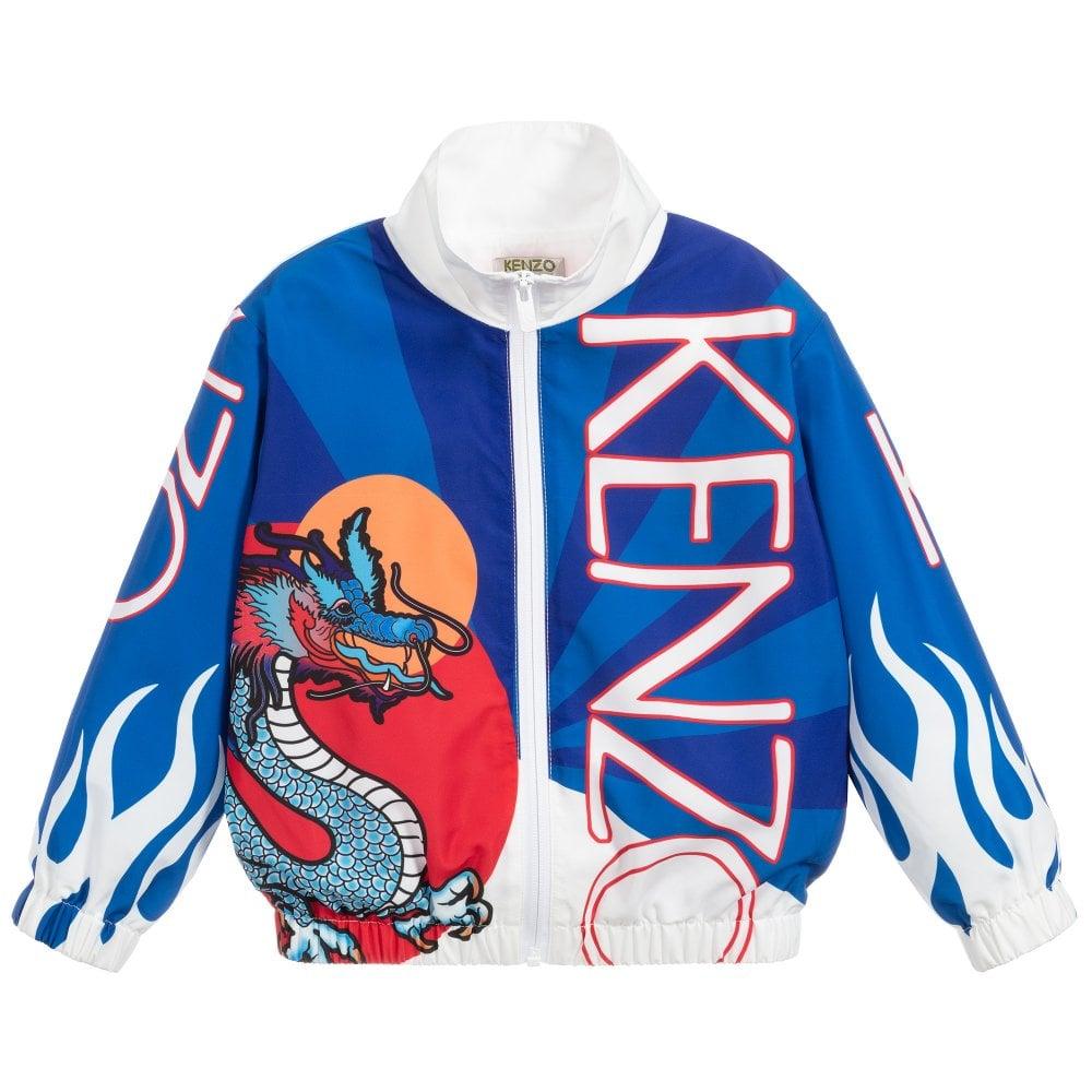 Kenzo Kids Japanese Dragon Zipped Jacket Colour: BLUE, Size: 10 YEARS