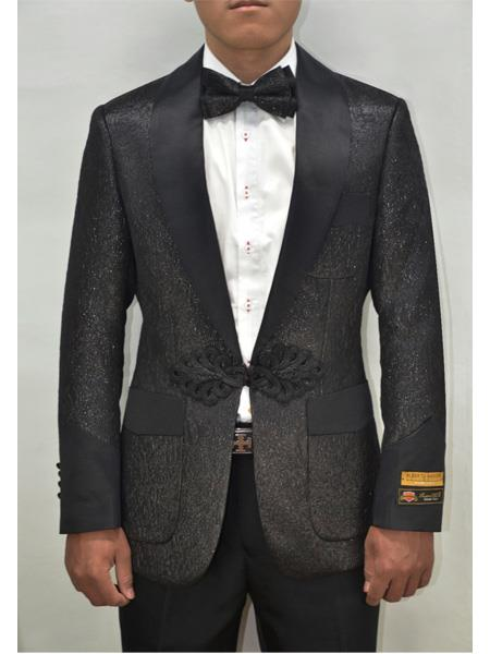 Alberto Nardoni Dinner Floral Fashion Shiny Pattern Black Black Tuxedo
