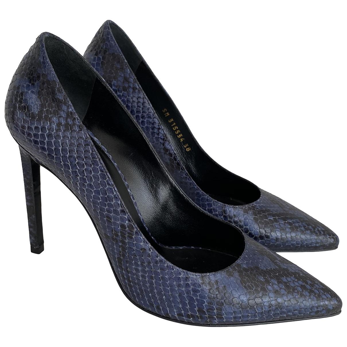 Saint Laurent \N Blue Python Heels for Women 38 EU
