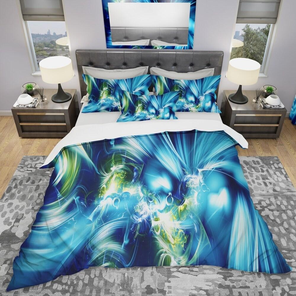 Designart 'Green and Blue Shine' Modern & Contemporary Bedding Set - Duvet Cover & Shams (King Cover + 2 king Shams (comforter not included))