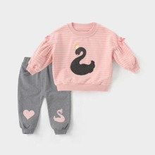 Toddler Girls Swan Patched Bow Detail Sweatshirt & Sweatpants