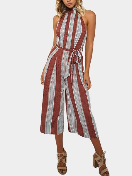 Yoins Sexy Halter Stripe Backless Sleeveless Self-tie Design Jumpsuit