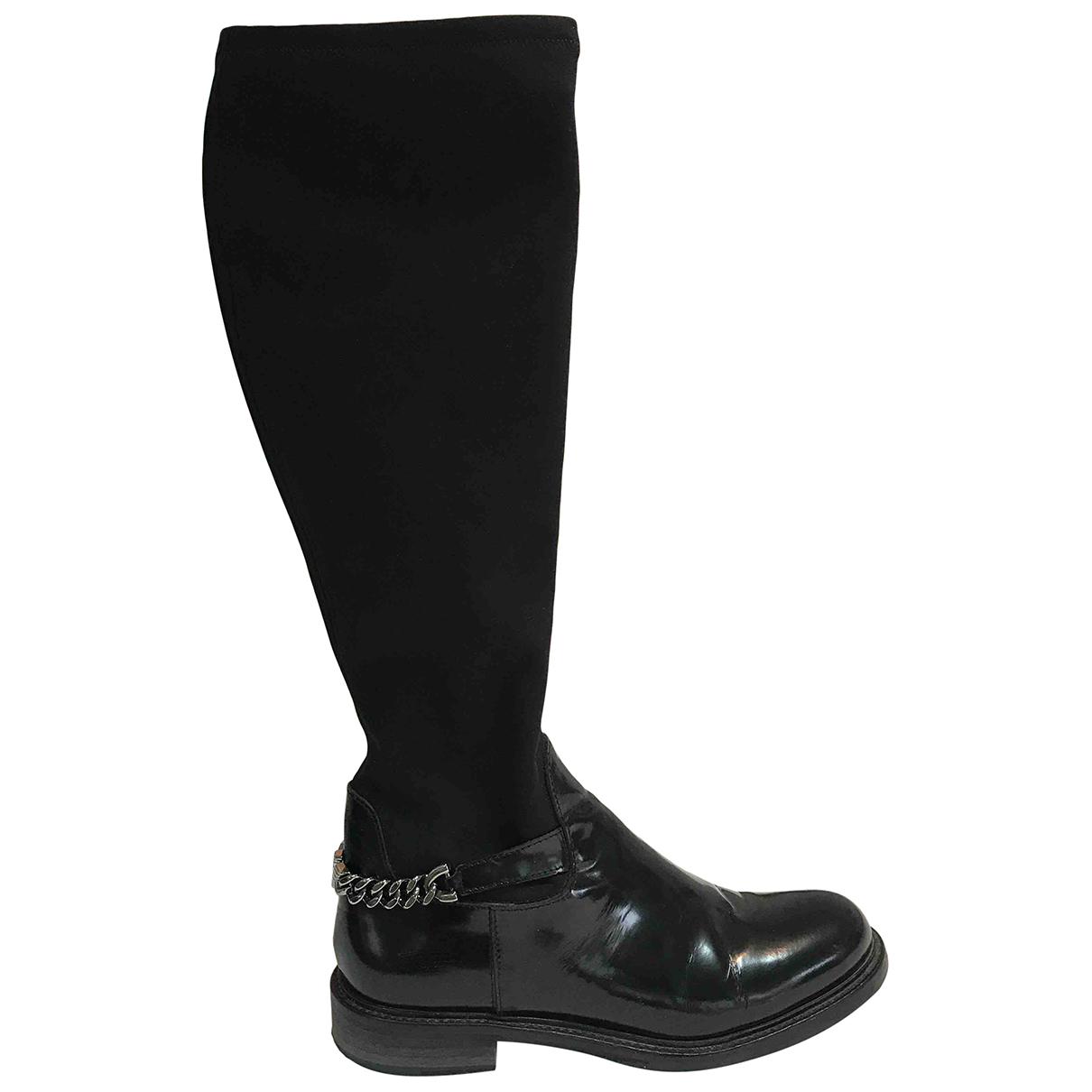 Emporio Armani N Black Leather Boots for Women 37.5 EU