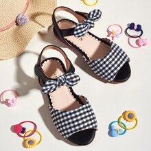 Kleinkind Maedchen Sandalen mit Schleife Dekor und Karo Muster