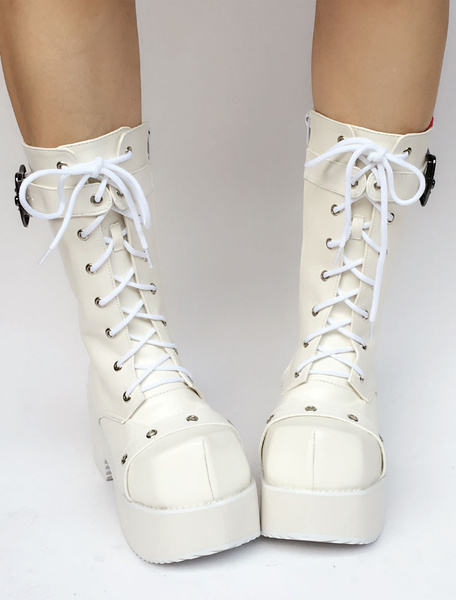 Milanoo White Lolita Boots Platform Chunky Heel Lace Up Buckle Round Toe Zipper Lolita Short Boots With Grommet