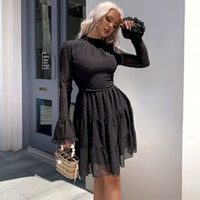Mock Neck Swiss Dot Chiffon Dress