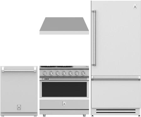 4 Piece Kitchen Appliance Package with KRBR36 36