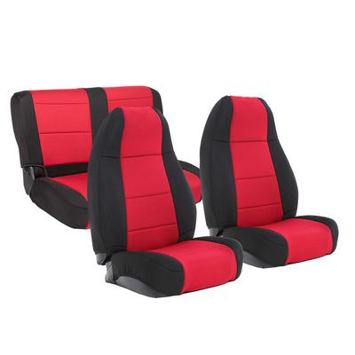 Smittybilt Neoprene Front and Rear Seat Cover Kit (Black/Red) - 471130