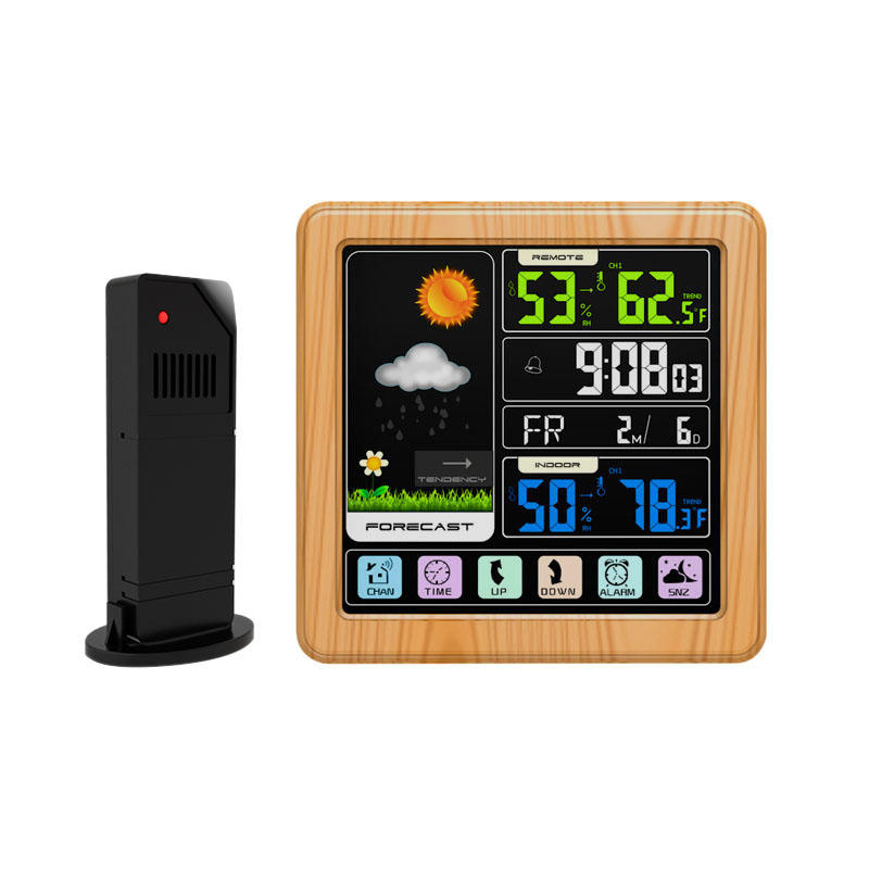 TS-3310-WG Full Touch Screen Wireless Weather Station Multi-function Color Screen Indoor and Outdoor Temperature Humidit