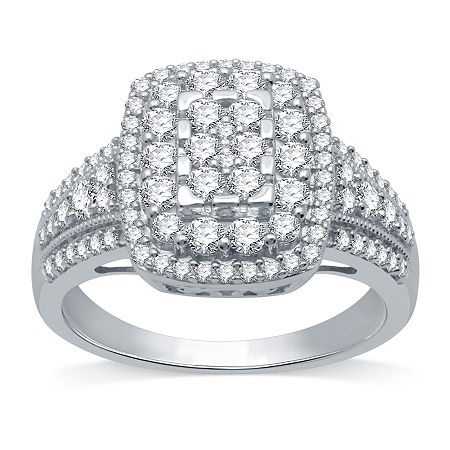 Womens 1 CT. T.W. Genuine Diamond 10K White Gold Cocktail Ring, 6 , No Color Family