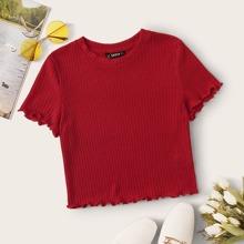 Geripptes Crop T-Shirt mit gekraeuseltem Saum