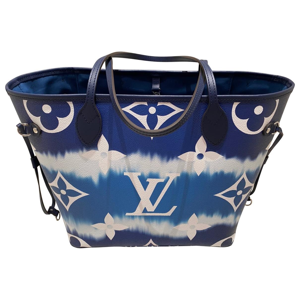 Louis Vuitton Neverfull Handtasche in  Blau Leinen
