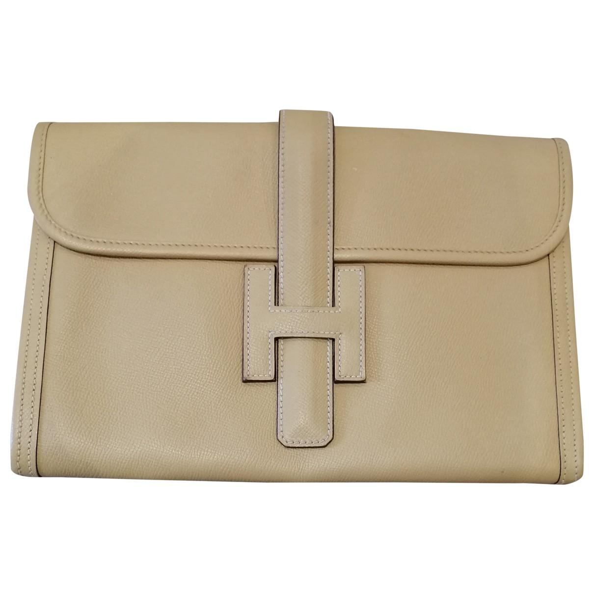 Hermes - Pochette Jige pour femme en cuir - jaune
